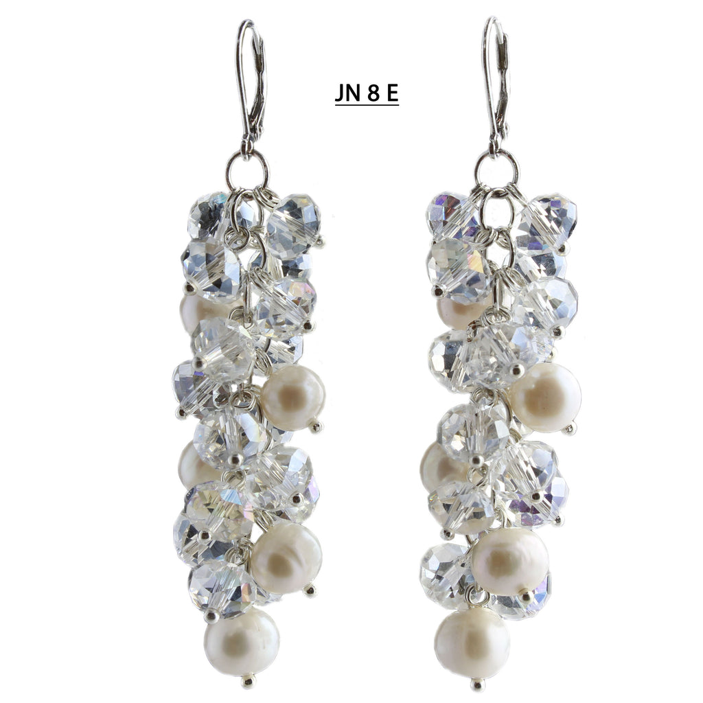"Freshwater Pearls and Faceted Clear AB Crystals Earrings with 2"" drop."