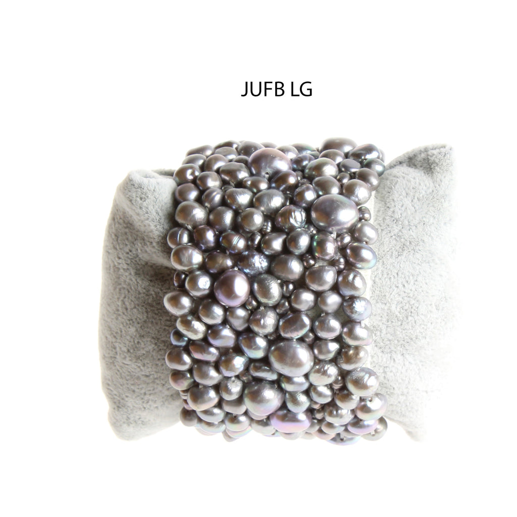 Light Gray Freshwater Pearls Stretchy Cuff
