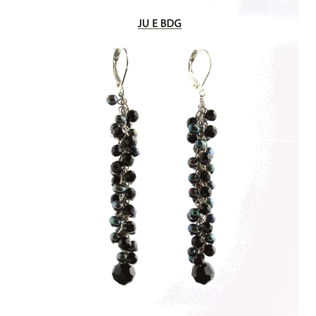 Silver Lever Back Black Onyx and Black and Gray Freshwater Pearls Earrings