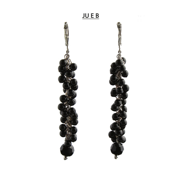 Silver Lever Back Black Onyx and Black Freshwater Pearls Earrings