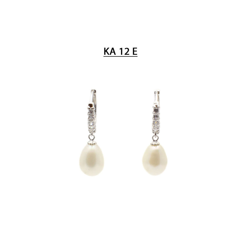 White Oval Freshwater Pearls on Pave highlighted earring hoops