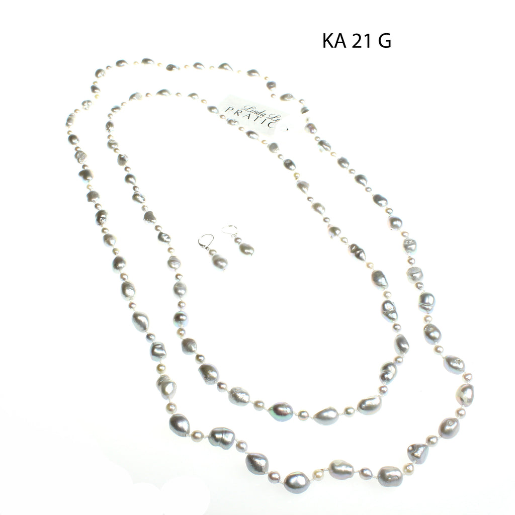 Three Piece Freshwater Pearls Necklace Set in Gray