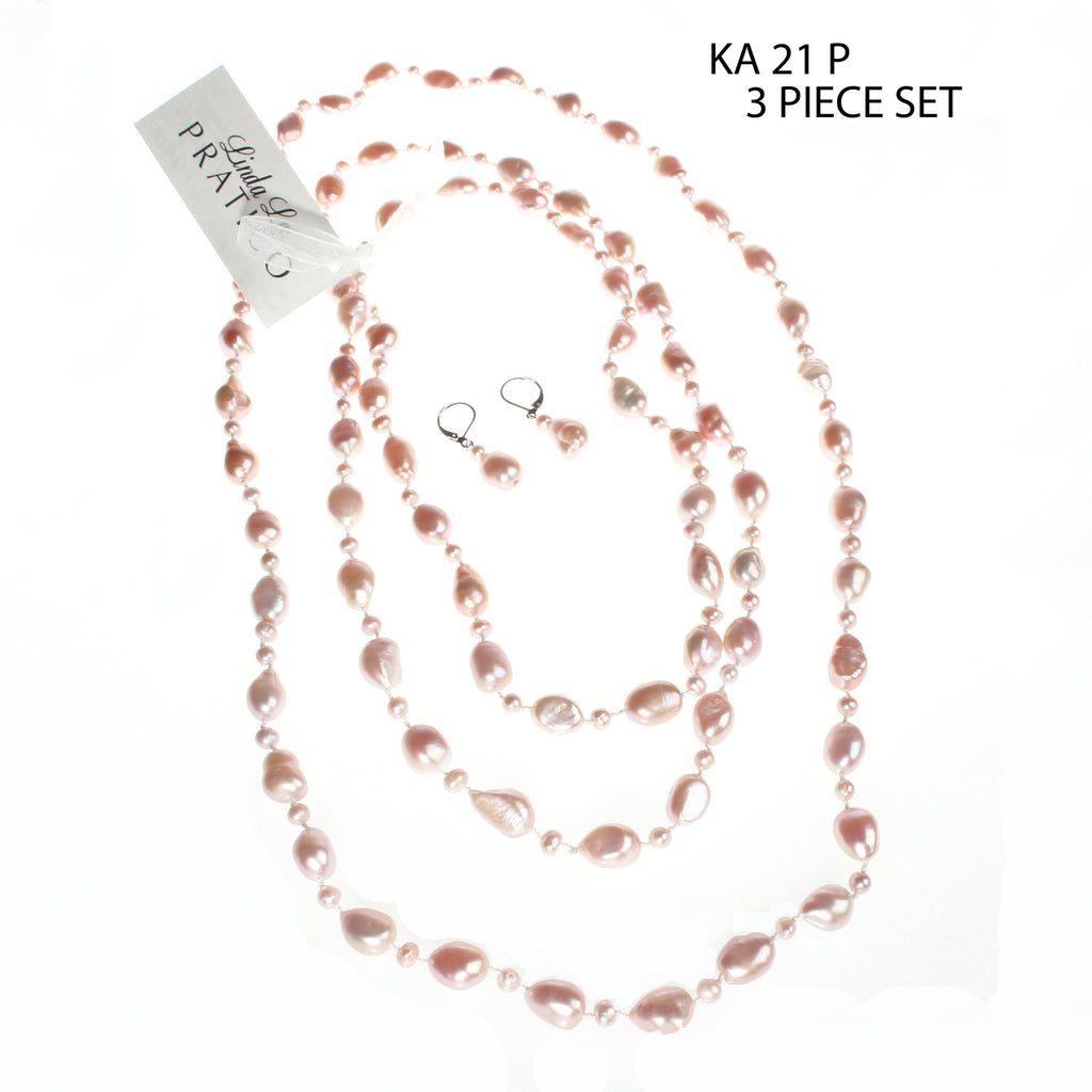Three Piece Necklace Set in Pink