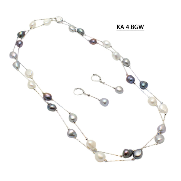 Black, Gray and White Fresh Water Pearls spaced with White Gold Plated Bars Necklace Set.