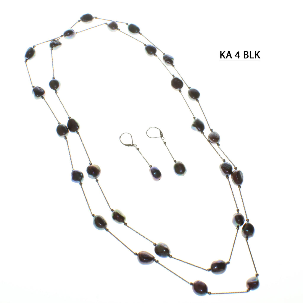 Black Fresh Water Pearls spaced with White Gold Plated Bars Necklace Set.