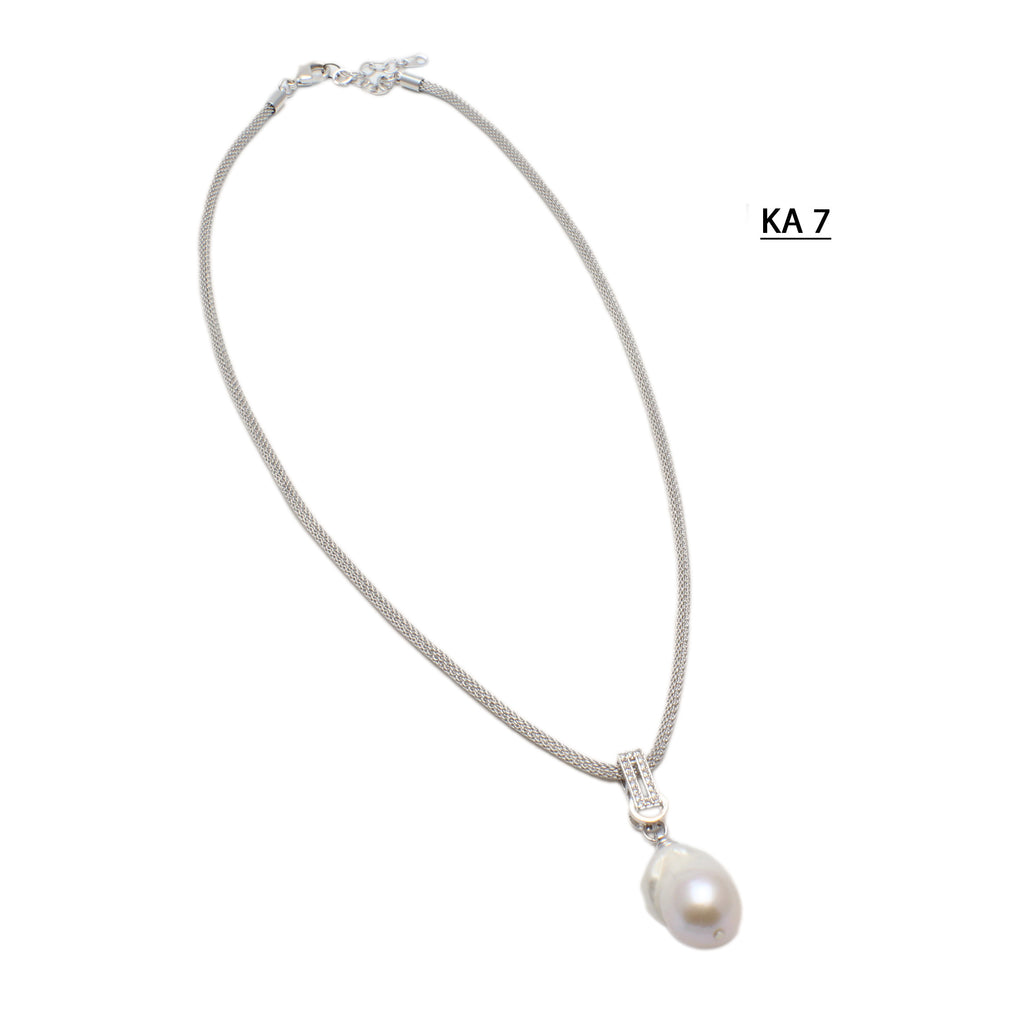 Large White Baroque Pearl Pendant Necklace