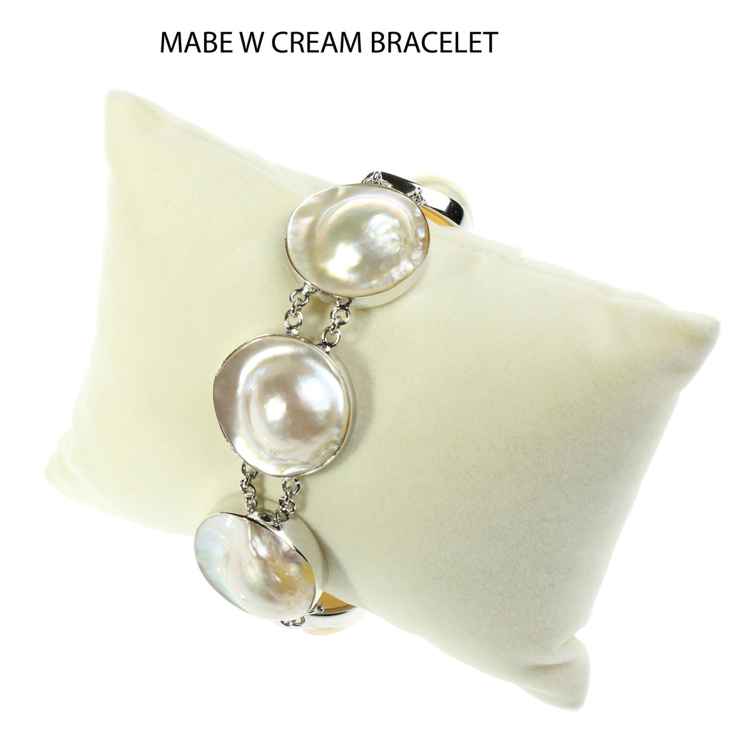 Mabe white/ cream pearls in Sterling Silver bracelet