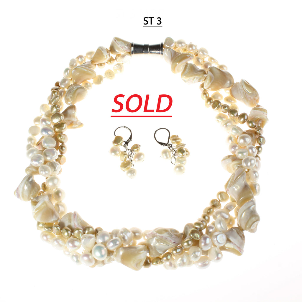 White, and Golden toned pearls with Blonde Mother of Pearl necklace Set
