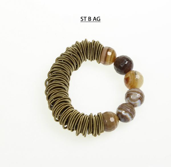 Stretchy Golden/Brown Agate Bracelet