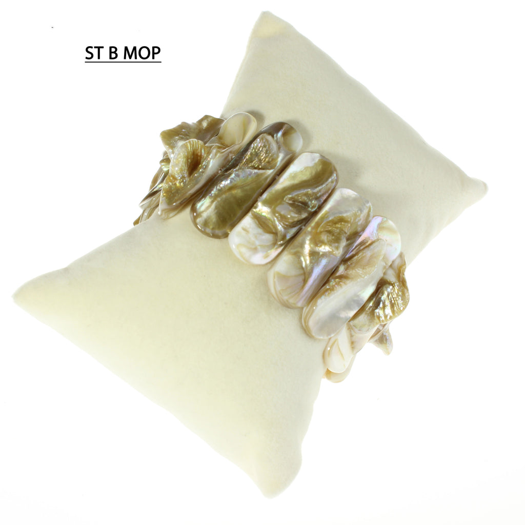 Blond Mother of Pearl Stretchy Bracelet Cuff