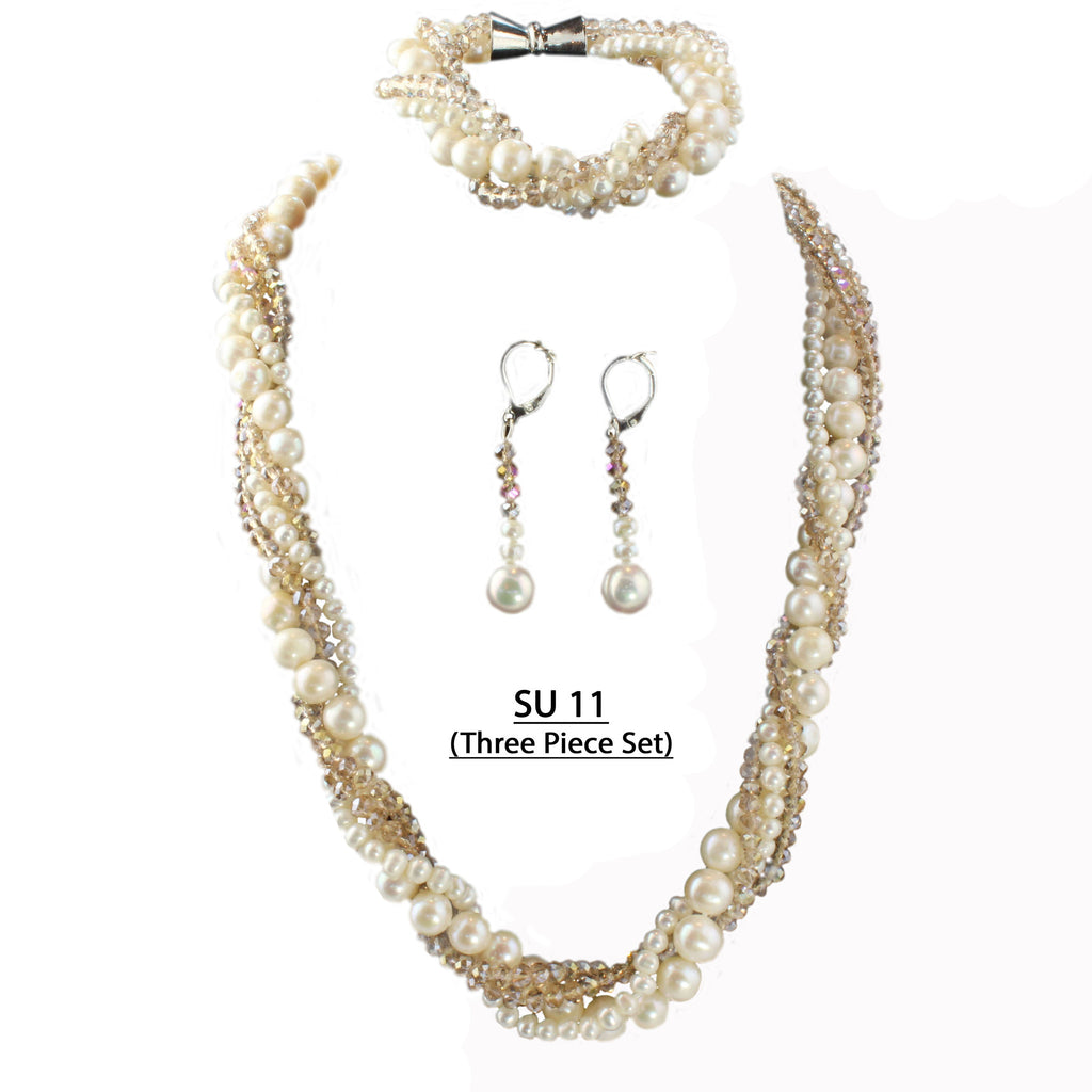 Faceted Champagne and Freshwater Pearls Three piece set, Necklace, Bracelet and Matching Earrings