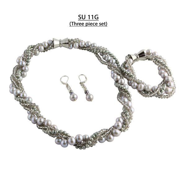 Silver Crystals and Gray Freshwater Pearls Three piece set, Necklace, Bracelet and Matching Earrings