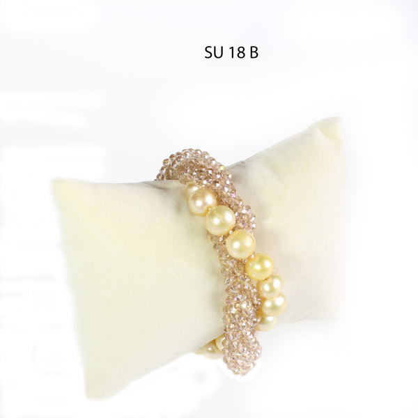 Faceted Champagne Crystals and Golden Freshwater Pearls Bracelet