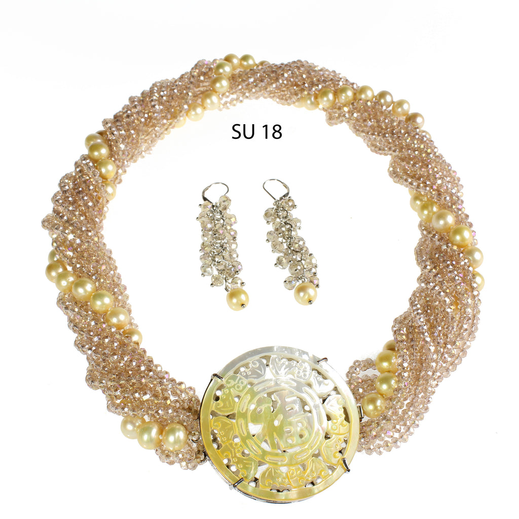 Golden Freshwater Pearls and Strands of Champagne Crystals with Carved Jade Clasp Necklace Set.