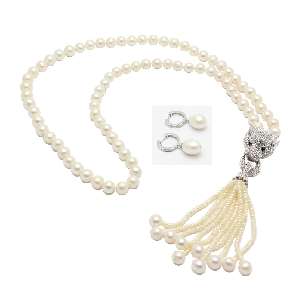 Freshwater Pearls Necklace Set with Cat's Head Centerpiece and Pearl Tassels