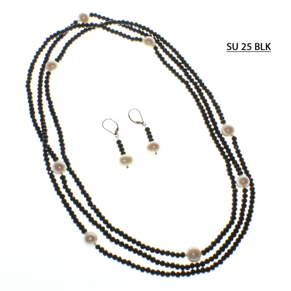 Endless Strand of Black Faceted Crystals with Freshwater Pearls.