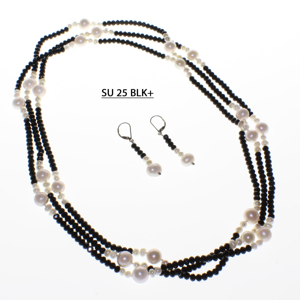 Endless Strand of Black Faceted Crystals with groupings of Freshwater Pearls.