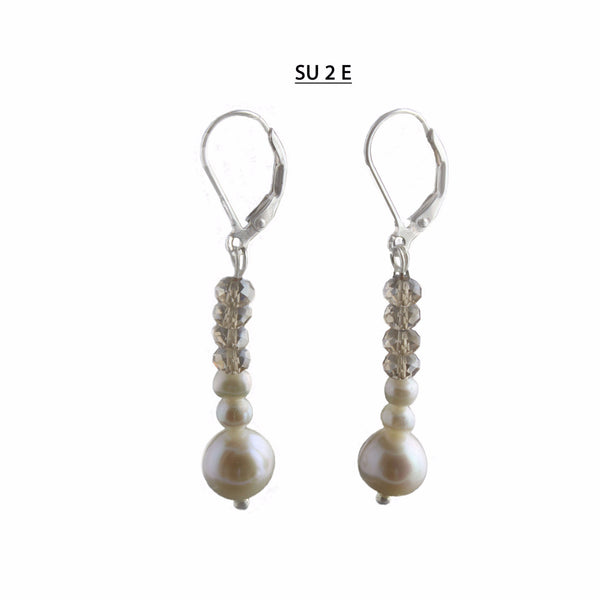 Freshwater Pearls and Faceted Champagne Crystal Earrings