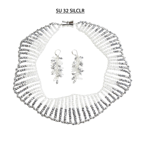 Clear AB and Silver Faceted Crystals Necklace Set