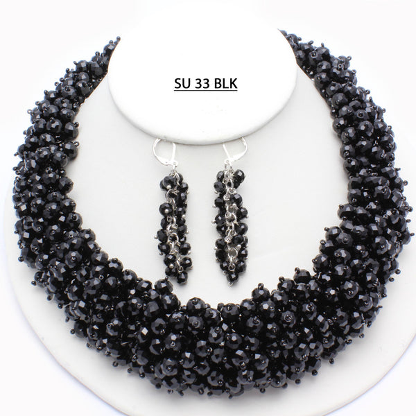 Full Bodied Black Faceted Crystals Necklace.