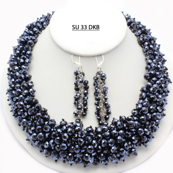 Full Bodied Dark Blue Faceted Crystals Necklace.