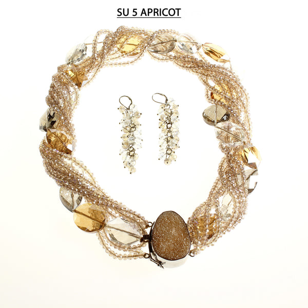 Champagne Faceted Crystals and Clear, Champagne and Smoke Large Faceted Beads with Apricot Druzy Clasp Necklace Set.