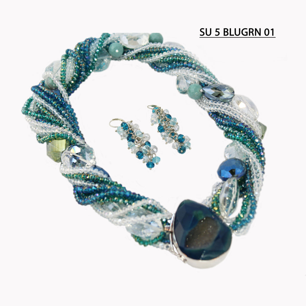 Blue/Green & Clear Crystals with Clear, Smoke & Blue Large Faceted Crystals Statement Necklace Set.