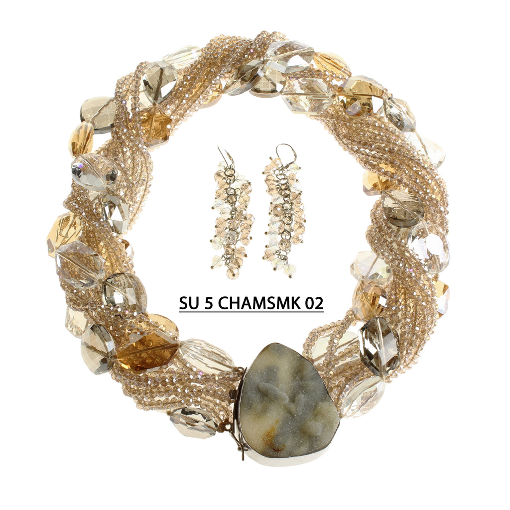 Champagne Crystals and Strands of Large Clear, Smoke & Amber Beads with Raw Stone Clasp Necklace Set