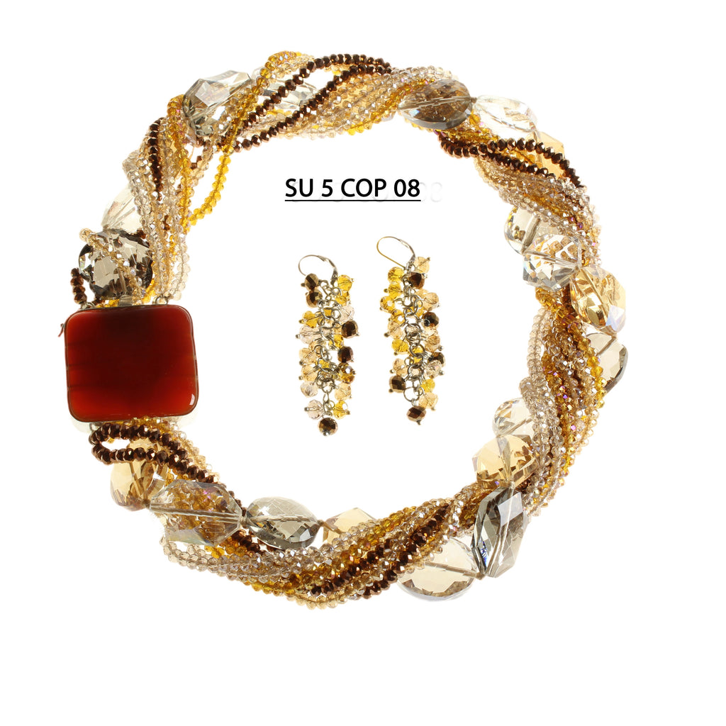 Multiple Strands of Smoke, Amber and Copper Faceted Crystals  with aastrand of larger faceted  Clear, Smoke and Amber Crystals with Polished Stone Clasp Necklace Set.