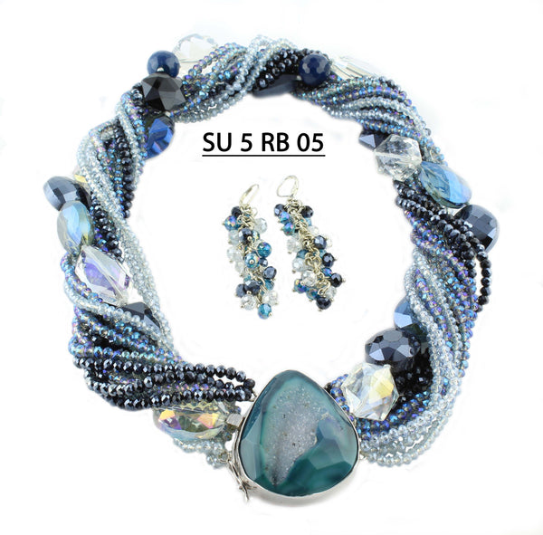 Ice Blue & Royal Blue Crystals with Clear, Blue & Deep Blue Beads w Agate Druzy Clasp Necklace Set.