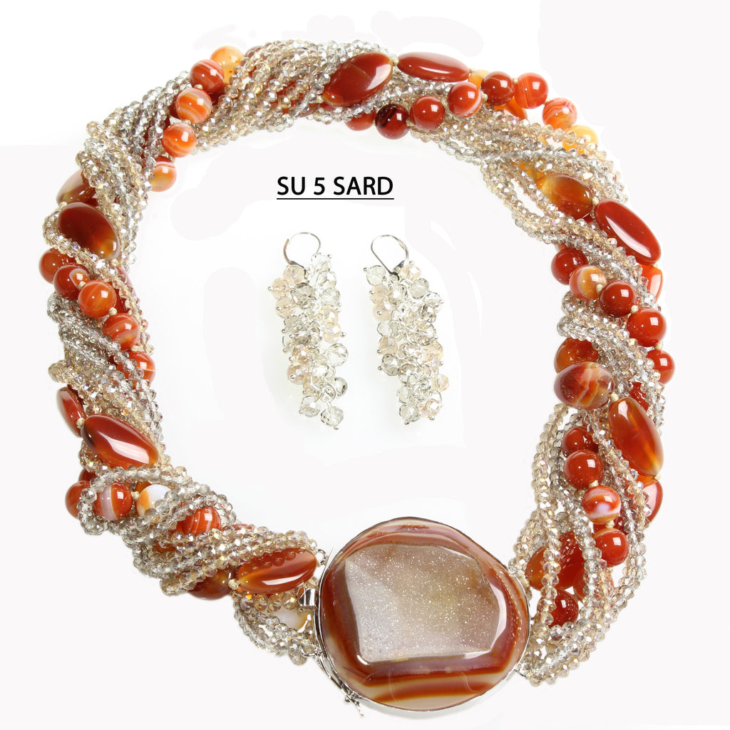 Multiple Strands of Smoke & Champagne Faceted Crystals and a Two Strands of Sardonyx and Jasper beads with Sardonyx Druzy Clasp Necklace Set with matching earrings.