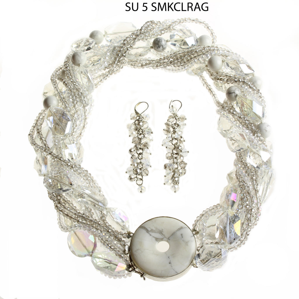 Clear & Smoke Crystal Strands and Larger Faceted Clear Beads with Round Agate SS Clasp Necklace Set.