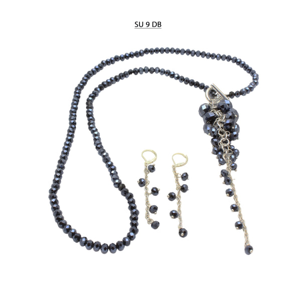 Faceted Dark Blue Crystal Necklace with Detachable Dangle