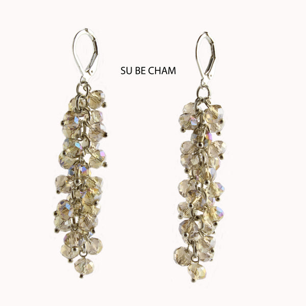 Champagne Faceted Crystal Silver Lever Back Earrings