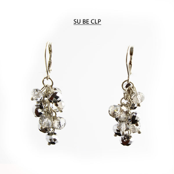 Clear and Pewter Faceted Crystal Silver Lever Back Earrings