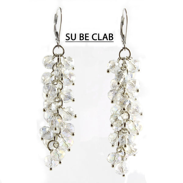 Clear Faceted Crystal Silver Lever Back Earrings
