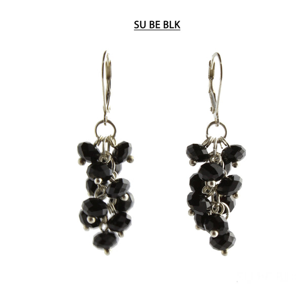 Black Faceted Crystal Silver Lever Back Earrings
