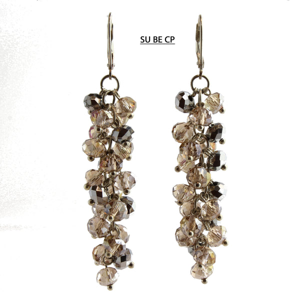 Champagne and Pewter Faceted Crystal Silver Lever Back Earrings
