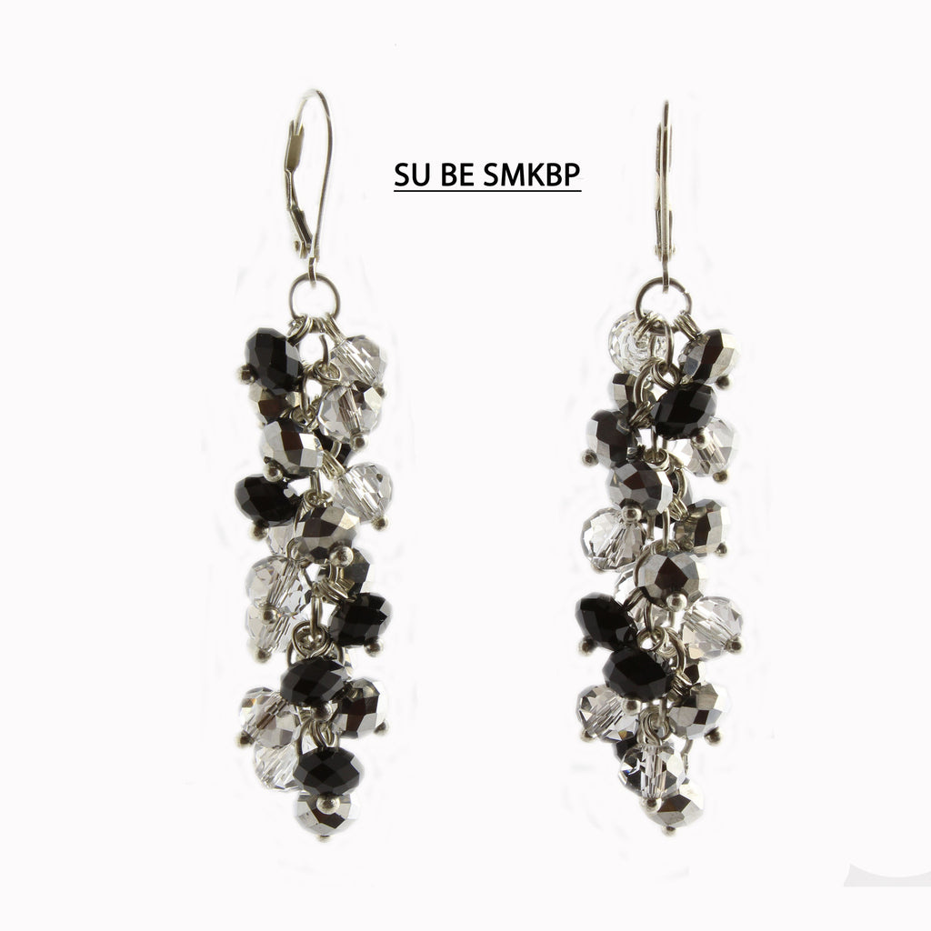 Smoke, Black and Pewter Faceted Crystal Silver Lever Back Earrings