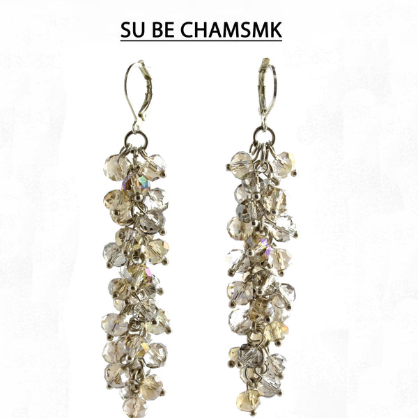 Champagne and Smoke Faceted Crystal Silver Lever Back Earrings