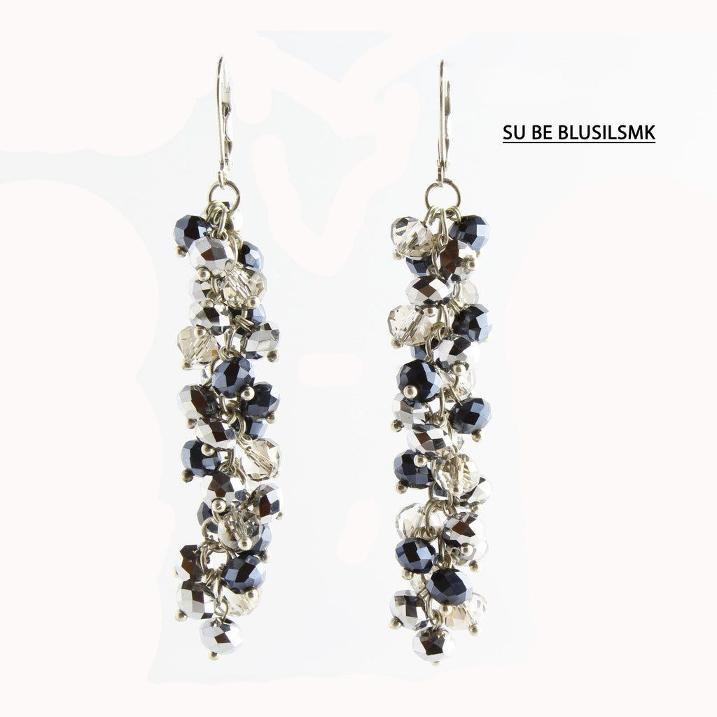 Blue, Smoke, and Silver Faceted Crystal Silver Lever Back Earrings