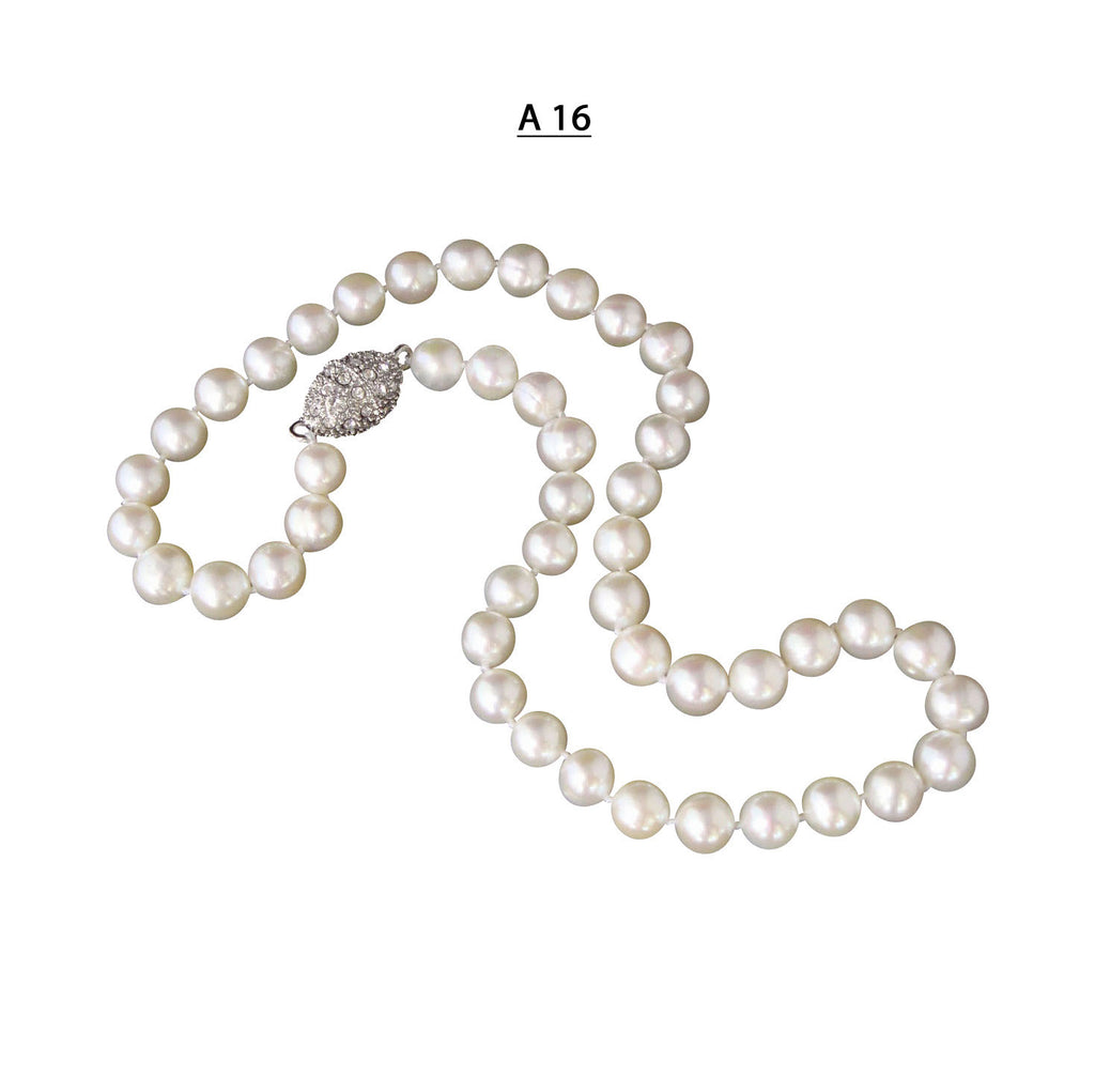 "AA to AA+ 8.5-9 MM Freshwater Pearls Necklace and Oval Pave Magnetic Clasp, 18"" Length."