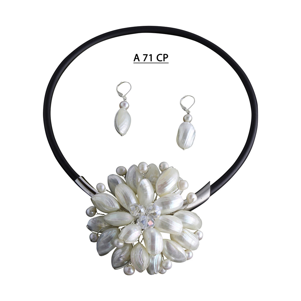 White Shells Flower with Clear AB Crystals Center and Freshwater Pearl Highlights Necklace Set.