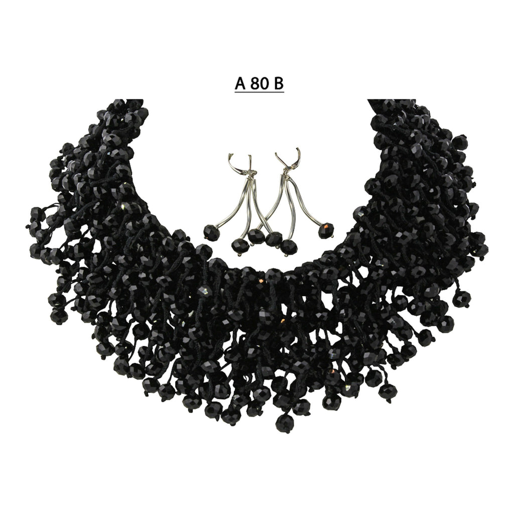 Handmade and Hand Knotted Elegant Faceted Black Crystal Necklace set.