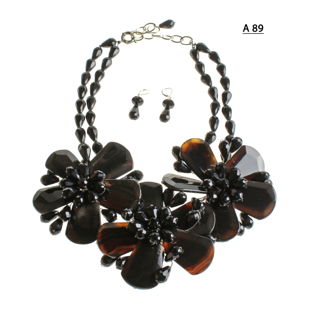 Three Onyx Flowers with Faceted Black and double strand of Black faceted Beads necklace Set.