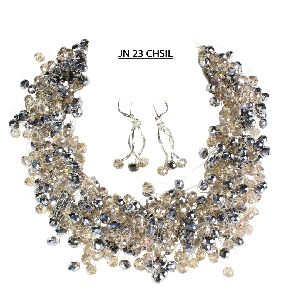 Very Full Handmade Sparkling Faceted Crystals in Champagne and Silver Necklace Set.