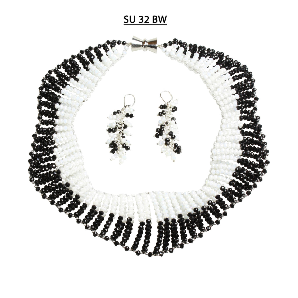 White and Black Faceted Crystals Necklace Set
