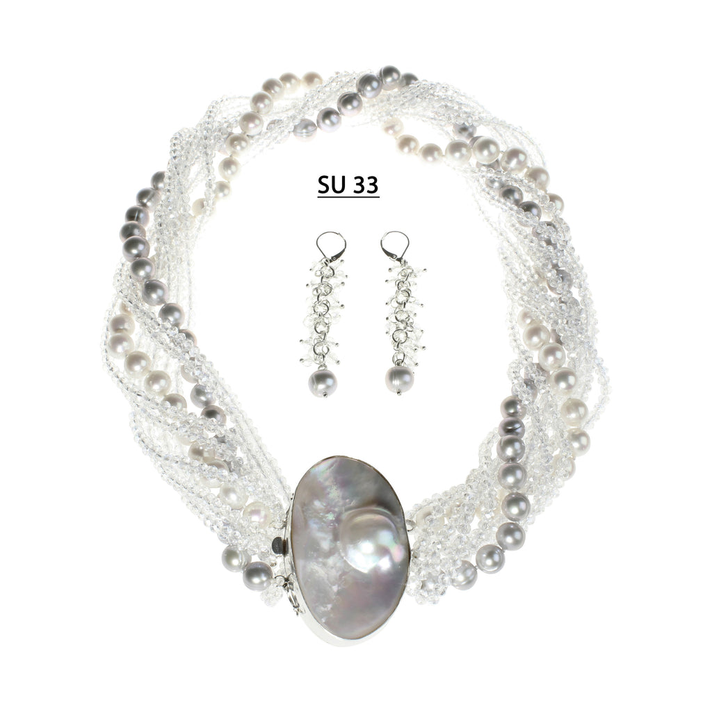 Stunning Necklace Set of Clear AB Crystals, White and Gray Freshwater Pearls and Mabe Pearl Clasp.