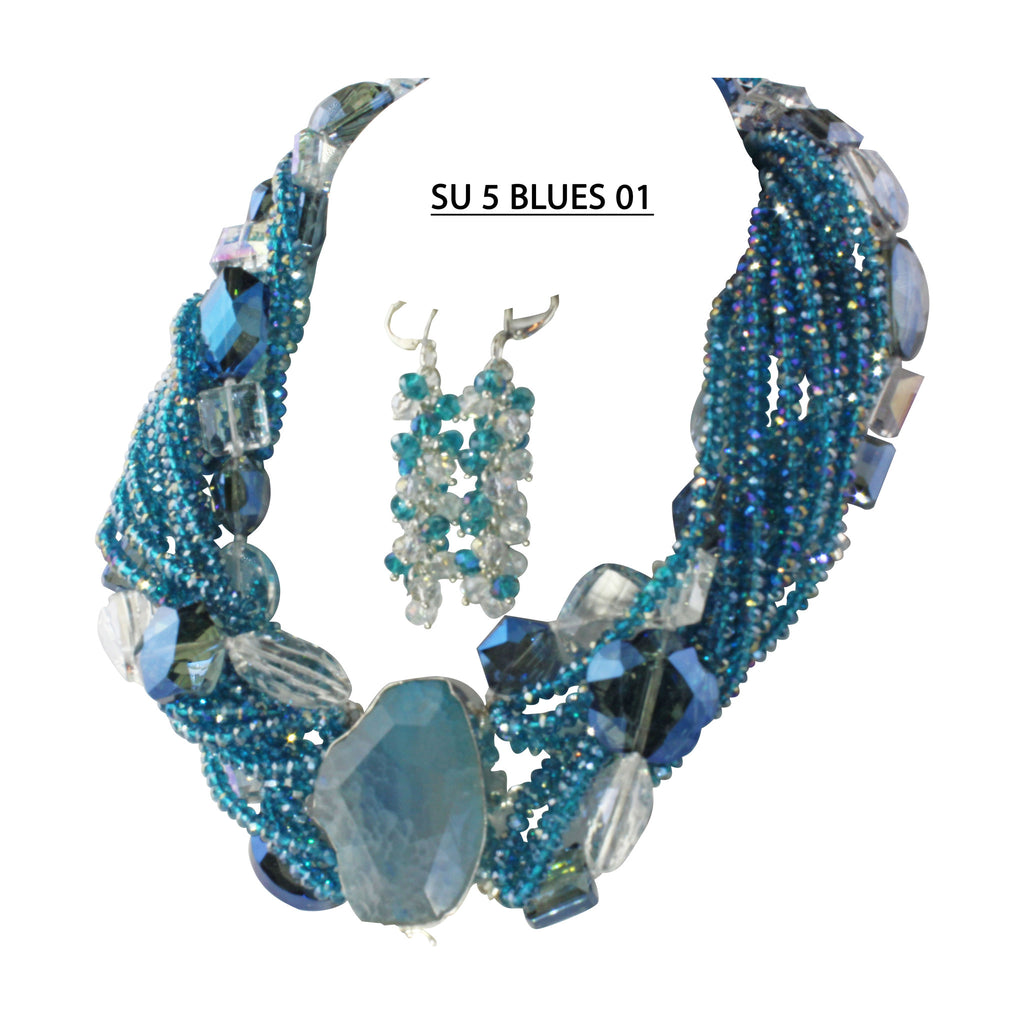 Blue Crystals with Clear, Smoke and Blue large faceted Crystals Statement Necklace Set.
