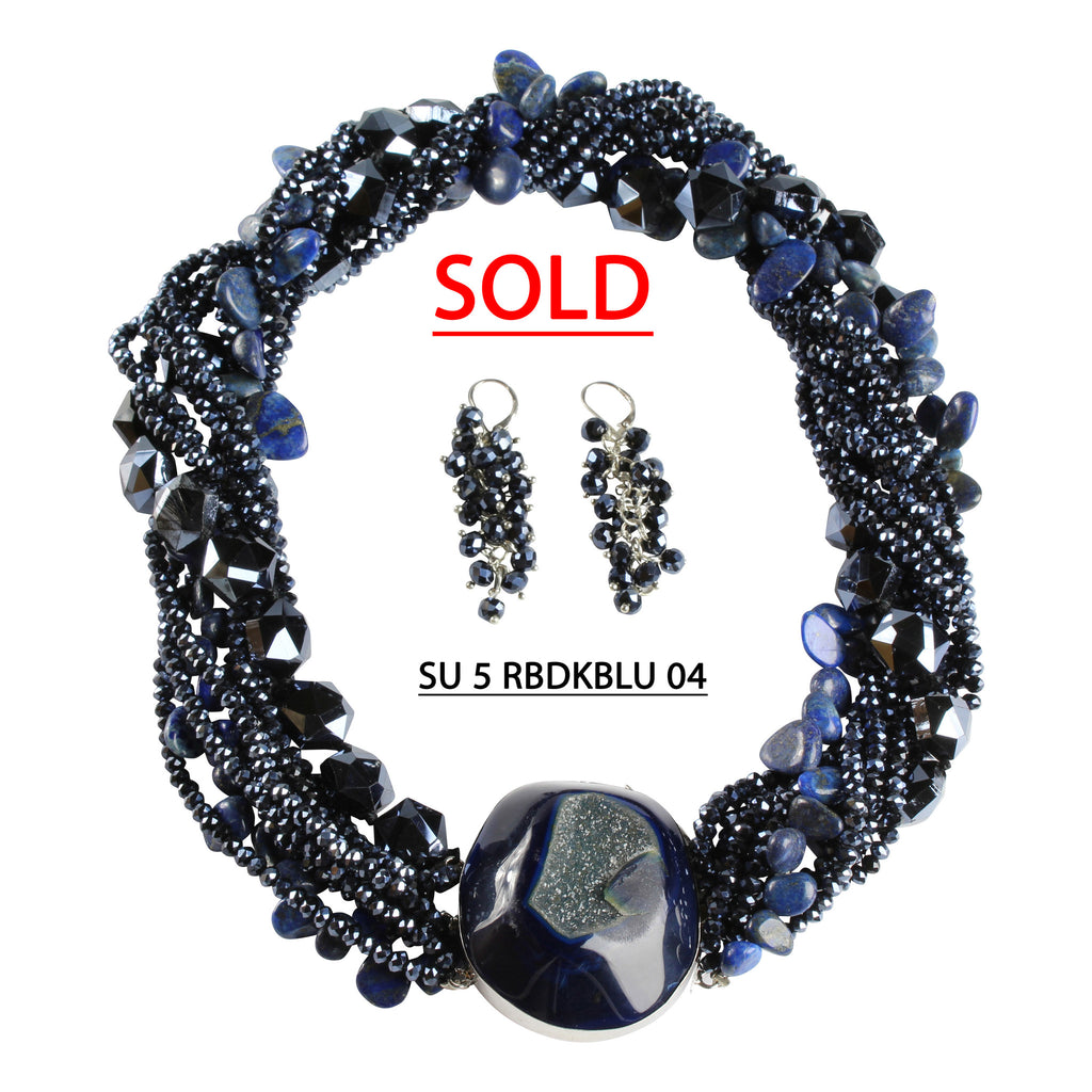 Blue Crystals with a Strand of Large Faceted Blue Beads and a Strand of Lapis Beads Necklace Set.